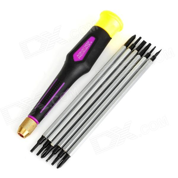 7-in-1 Repairing Screwdriver Head + Handle Set - Black + Yellow + Multicolored boscam 5 8ghz cloud spirit antennas txa and rxa a pair in one set multicolored