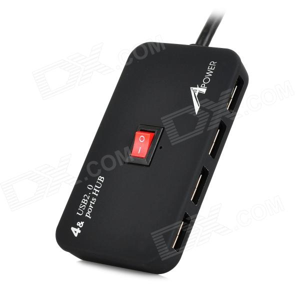 Apower-link D-11 480Mbps USB 2.0 4-Port Hub w/ Switch / Indicator - Black