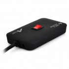 Apoder-link D-11 480Mbps USB 2.0 4-Port Hub w / Switch / Indicator - negro