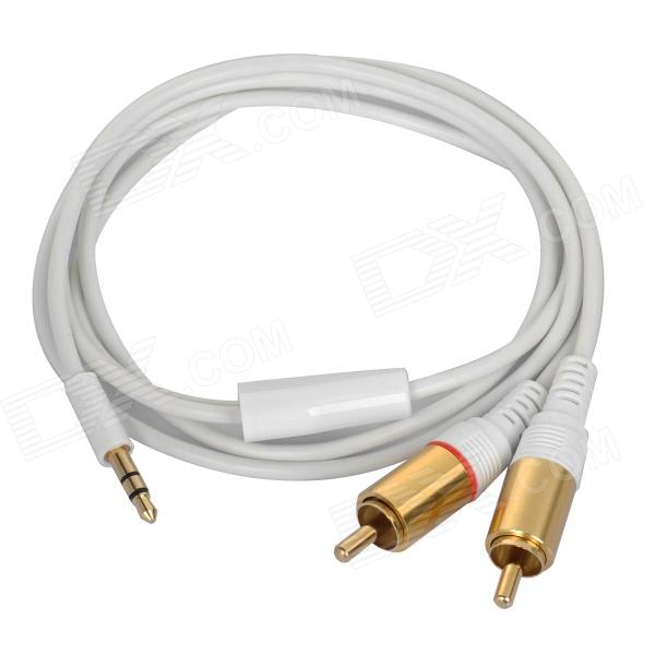 Gold-plated 3.5mm Male to 2 x RCA  Male Audio Connection Cable - White (100cm)  hifi mps x 702r hifi 99 9997% occ 24k rhodium plated plug rca audio cable dvd cd dac amplifier audio cable