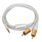 Gold-plated 3.5mm Male to 2 x RCA  Male Audio Connection Cable - White (100cm)