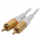Enchapado en oro macho de 3,5 mm a 2 x cable de conexión de audio RCA macho - blanco (100 cm)