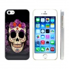 Flower Skull Shaped Design Pattern Print Plastic Case for IPHONE 5 / 5S - Black + Red