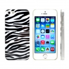 Zebra-stripe Design Pattern Print Plastic Case for IPHONE 5 / 5S - White + Black