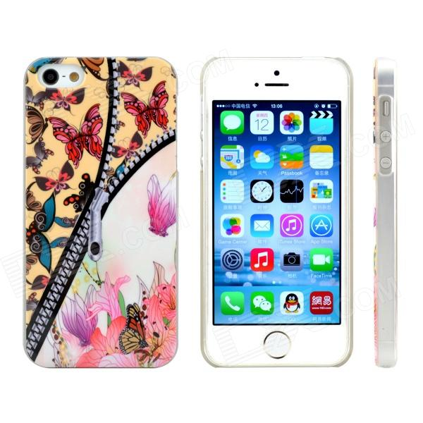 Zipper Butterfly Design Pattern Plastic Case for IPHONE 5 / 5S - Black + White butterfly