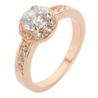 Women's Stylish Zinc Alloy + Crystal Finger Ring - Golden + Silvery White (U.S Size: 7)