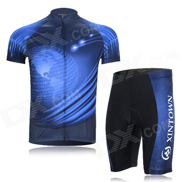 XINTOWN Outdoor Cycling Dacron Short Sleeves Jersey + Short Pants Suit - Black + Blue (XL) cheji cycling men s long sleeves jersey pants suit black white xl