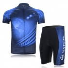 XINTOWN Outdoor Cycling Dacron Short Sleeves Jersey + Short Pants Suit - Black + Blue (XL)