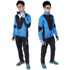 VEOBIKE Men's Winter Thickened Windproof Zipper Cycling Jersey - Blue + Black (XL)