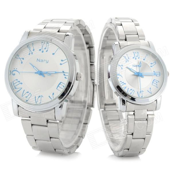 NARY 6027 Stainless Steel Band Quartz Wristwatch for Lovers & Couples - Silver (Pair / 1 x SR626)