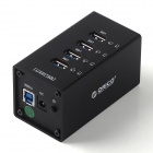 ORICO A3H4 4-Port USB 3.0 High Speed HUB Aluminum Alloy HUB w/ US Plug Power Adapter - Black