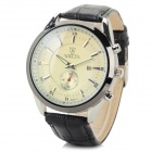 Men's Roman Numeral Scale PU Band Quartz Wrist Watch w/ Calendar - Milk White + Black (1 x A377)