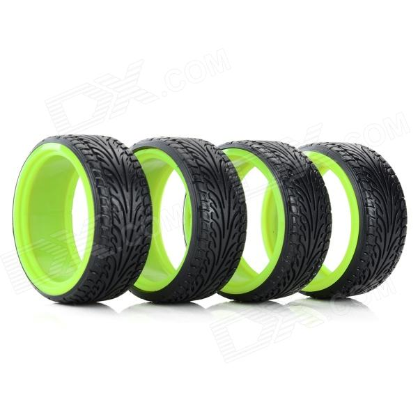5016 Replacement 1:10 Scale Tires for Drift Car Model - Black + Green (4 PCS) доска гладильная eurogold 28239 delux gold