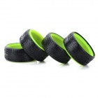 5016 Replacement 1:10 Scale Tires for Drift Car Model - Black + Green (4 PCS)