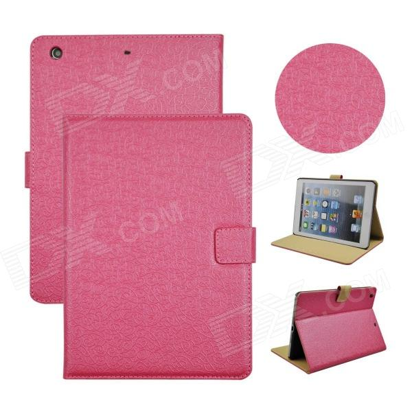 Angibabe Court Flower Protective PU Leather Case Cover Stand w/ Card Slot for IPAD AIR - Deep Pink briefcase style protective pu leather stand case w dormancy function for ipad mini pink