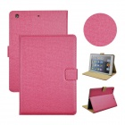Angibabe Court Flower Protective PU Leather Case Cover Stand w/ Card Slot for IPAD AIR - Deep Pink