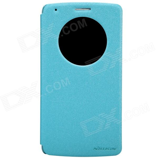 NILLKIN Protective PU Leather Flip Open Case w/ Visual Window for LG G3 - Blue protective matte frosted back case for htc one x s720e black