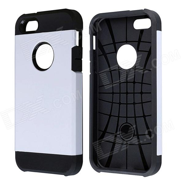 PC and Silicone Hybrid Tough Armor Case w/ Air Cushion for IPHONE 5 / 5S - White + Black spidercase rugged arc curved tpu pc hybrid case for iphone 7 plus 5 5 black