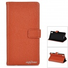 Stylish Flip Open PU Leather Case w/ Stand / Card Slots for Sony Xperia Z2 / D6503 - Brown