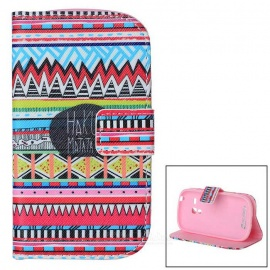 Stylish Flip Open PU Leather Case w/ Stand / Card Slots for Samsung Galaxy S3 Mini / i8190 / i8160