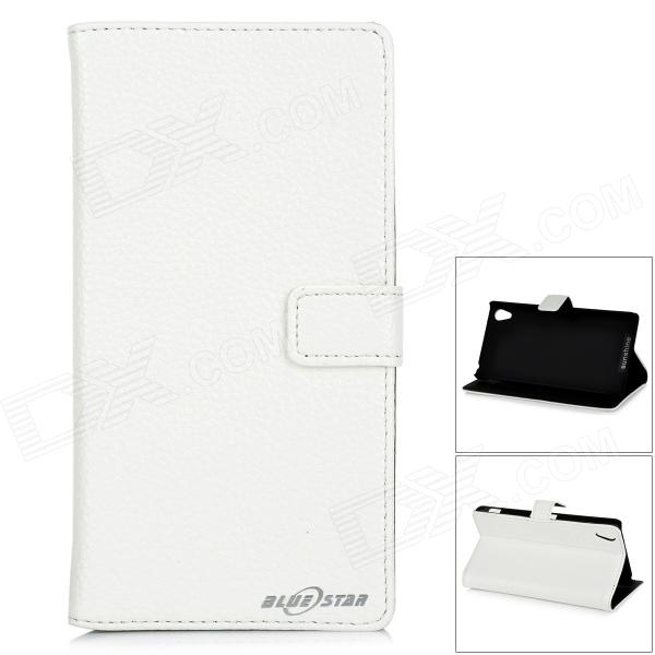 Stylish Flip Open PU Leather Case w/ Stand / Card Slots for Sony Xperia Z2 / D6503 - White stylish flip open pu case w stand card slots for sony xperia z2 d6503 red