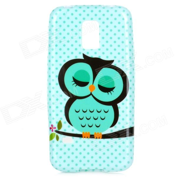 Cute Owl Pattern Protective TPU Back Case for Samsung S5 Mini - Green + Black owl pattern protective tpu back case for samsung galaxy s5 green black