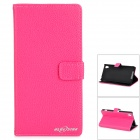 Stylish Flip Open PU Leather Case w/ Stand / Card Slots for Sony Xperia Z2 / D6503 - Deep Pink