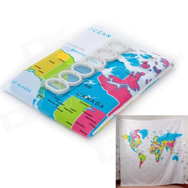Vina L6 The Map of the World Creative European Style Dacron Bath Shower Curtain - White + Blue демис руссос man of the world купить