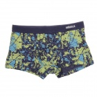 Men's Modal Elastic Comfortable Breathable Boxers Underpants - Purplish Blue + Green (XXL)