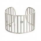 Stylish 316L Stainless Steel Anti-Allergic Stripes Style Bracelet for Women - Silver + White