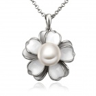LKN18KRGPN715 Women`s Stylish Petal + Gold-Plated Pearl Pendant Necklace - Silver + White