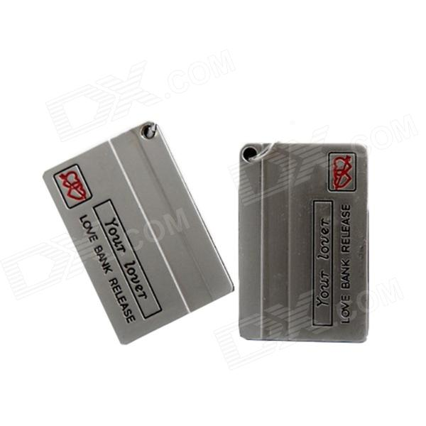 q028 Bank Card Style Zinc Alloy Couple Key Chain Set - Silver + Grey