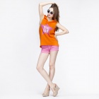 Catwalk88 Sommer Casual Women Star Pattern BaumwollSleeveless Hoodies - Orange (L)