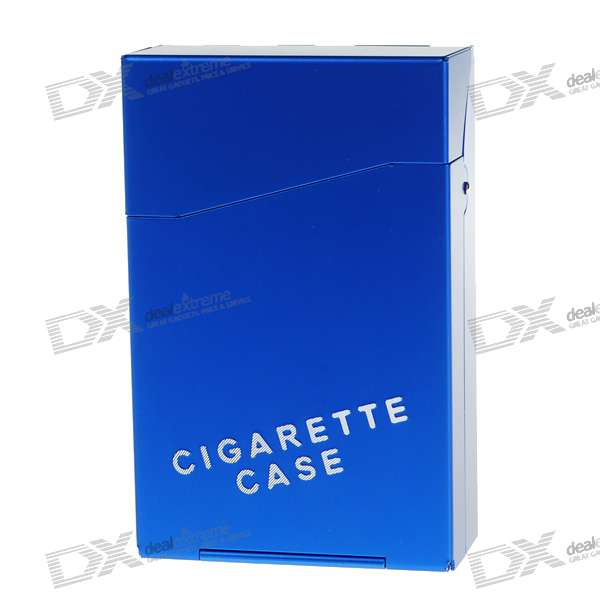 Aluminum Alloy Cigarette Case - Blue (Holds 10)