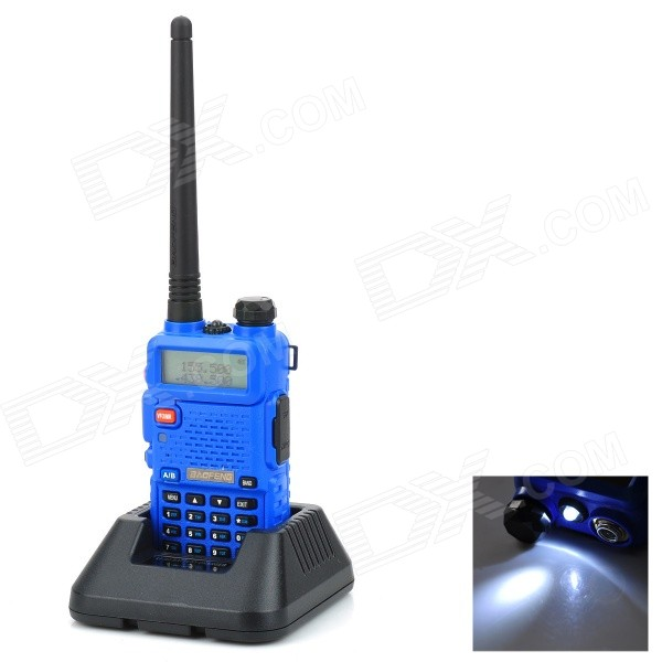 BAOFENG BF-UV5R 1.5 LCD 5W Dual Band 128-CH Walkie Talkie w/ FM / 1-LED Flashlight - Blue