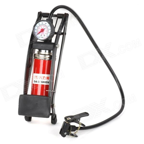 JC-702A Portable Bike Vehicle Tires Foot Operated Air Pump Inflator w/ Pressure Gauge - Black + Red