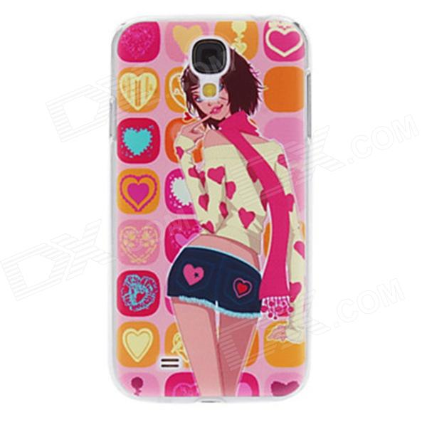 Kinston Cartoon Girl Pattern Protective Plastic Back Case for Samsung Galaxy S4 i9500 - Pink + Beige protective cute spots pattern back case for samsung galaxy s4 i9500 multicolored