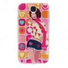 Kinston Cartoon Girl Pattern Protective Plastic Back Case for Samsung Galaxy S4 i9500 - Pink + Beige