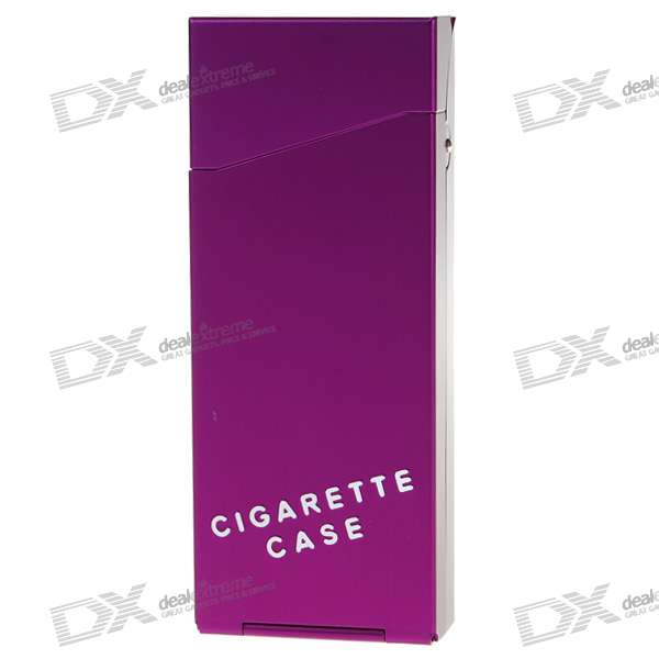 Lady's Aluminum Alloy Cigarette Case - Purple (Holds 10)