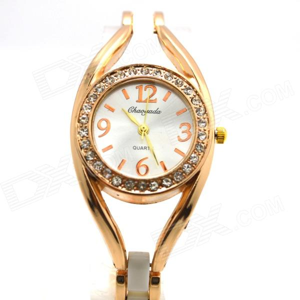 Women's Fashionable Rhinestones Studded Quartz Analog Bracelet Watch - Golden + White (1 x LR626) wholesale replacement bare lamp 915p049020 for mitsubishi wd 57831 wd 65831 wd 73831 wd 73732