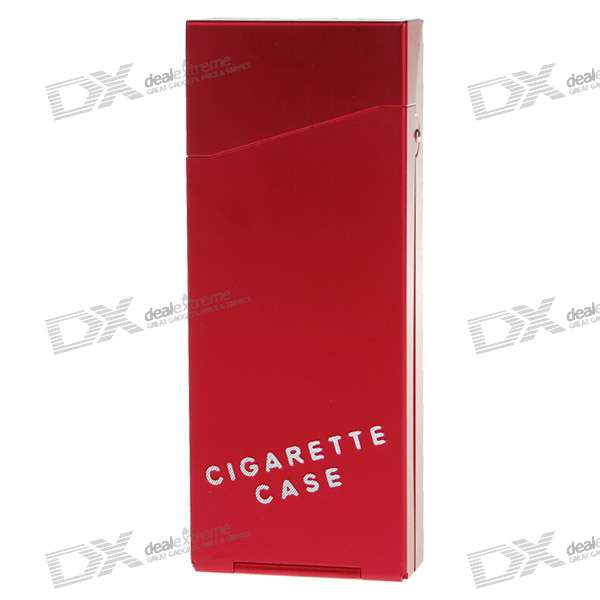 Lady's Aluminum Alloy Cigarette Case - Wine Red (Holds 10)