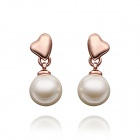 Women's Gold-plated Alloy Pearl Stud Earrings - White + Rose Golden (Pair)