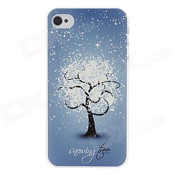 Kinston kst00057 Snow Flower Pattern Plastic Back Case for IPHONE 4 / 4S - Blue + Multicolored аксессуар защитное стекло onext 3d для iphone 6 6s white 41002