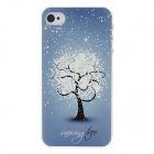 Kinston kst00057 Snow Flower Pattern Plastic Back Case for IPHONE 4 / 4S - Blue + Multicolored