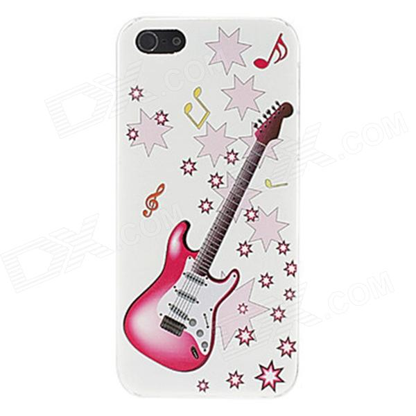 Kinston kst00067 Guitar Pattern Protective Plastic Back Case for IPHONE 5 / 5S - White + Pink girl playing guitar pattern protective back case for iphone 5 white black red