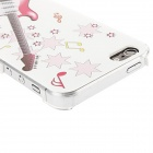 Kinston kst00067 Guitar Pattern Protective Plastic Back Case for IPHONE 5 / 5S - White + Pink