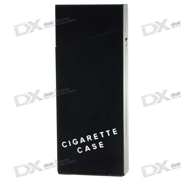 Lady's Aluminum Alloy Cigarette Case - Black (Holds 10)