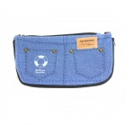 Creative Jeans Style Canvas Zipper Wallet - Blue + Black