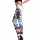 Elonbo Y1A10 Women's Indian Pattern Tight-fitting Polyester + Spandex Leggings - Multi-colored