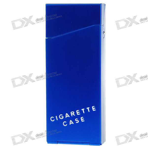 Lady's Aluminum Alloy Cigarette Case - Blue (Holds 10)
